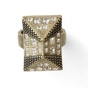 Lia Sophia Pitch Gold Crystal Ring 10 NWOT
